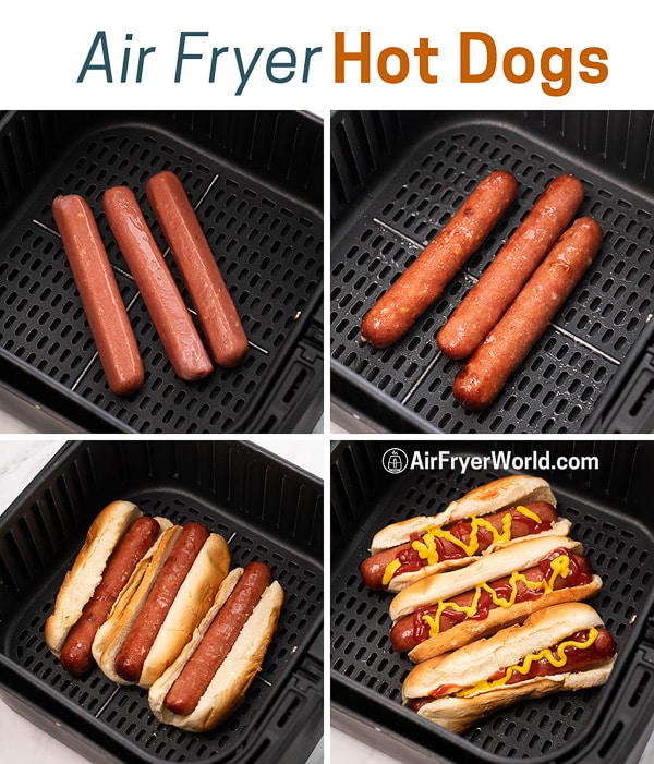 Easy Air Fried Hot Dogs Recipe in Air Fryer | AirFryerWorld.com