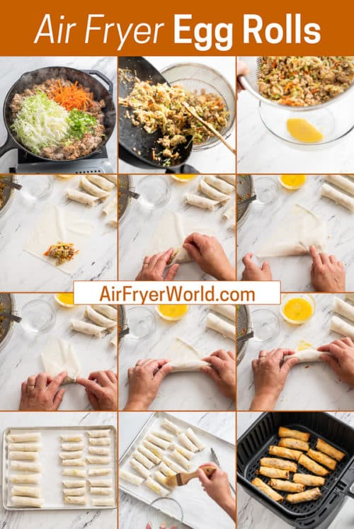 Easy Air Fried Chicken Egg Rolls Recipe in the Air Fryer step by step photos