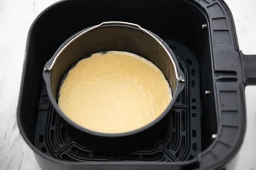 Cornbread mix in baking pan