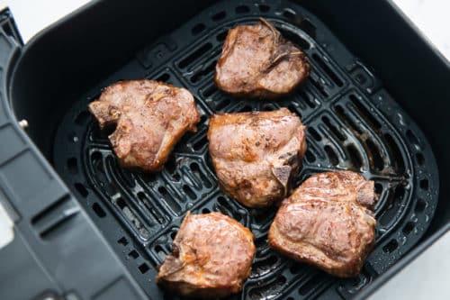Finished air fried lamb loin chops