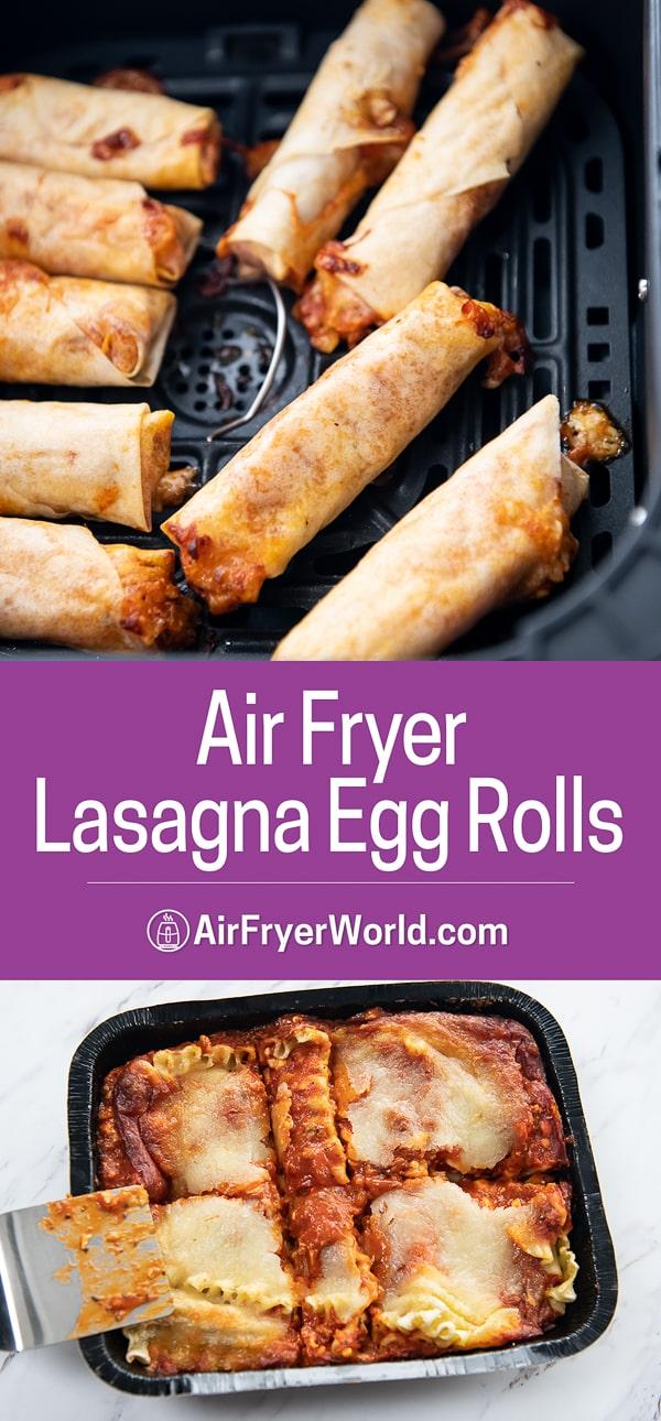 Air fryer basket with crispy lasagna egg rolls inside from airfryerworld.com