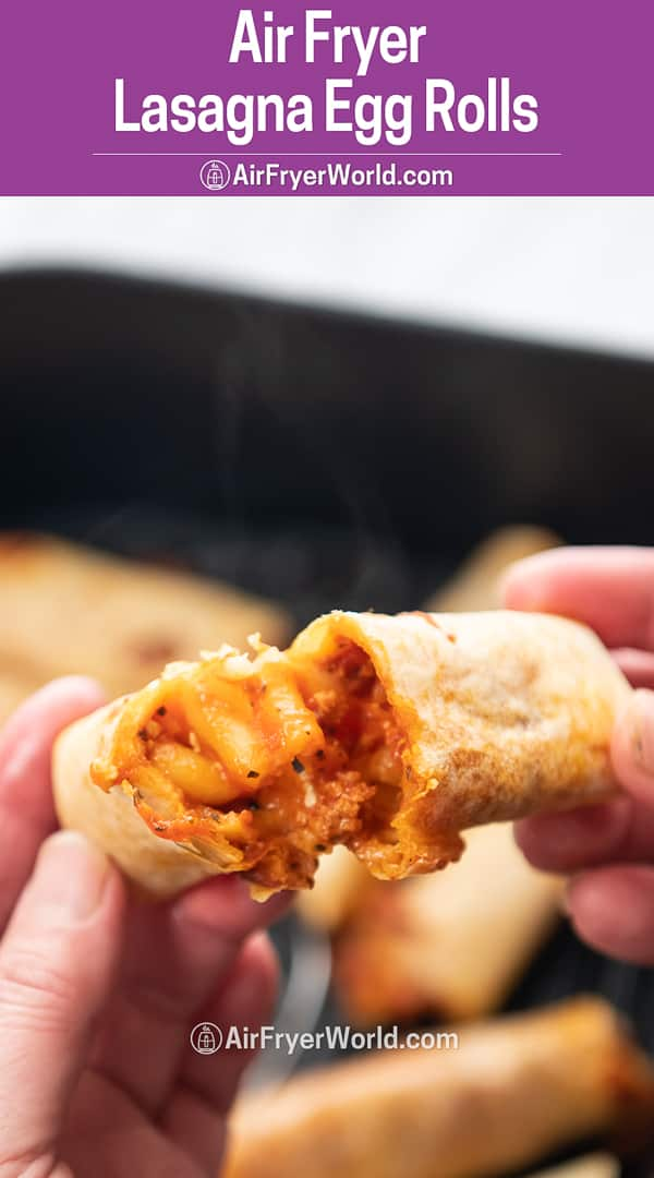 Hand holding lasagna egg roll cut in half with filling from airfryerworld.com