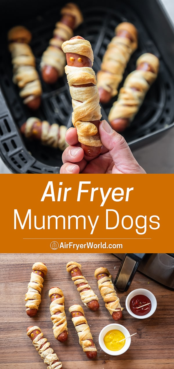Air Fryer Mummy Hot Dogs Recipe For Halloween Easy Air Fryer World