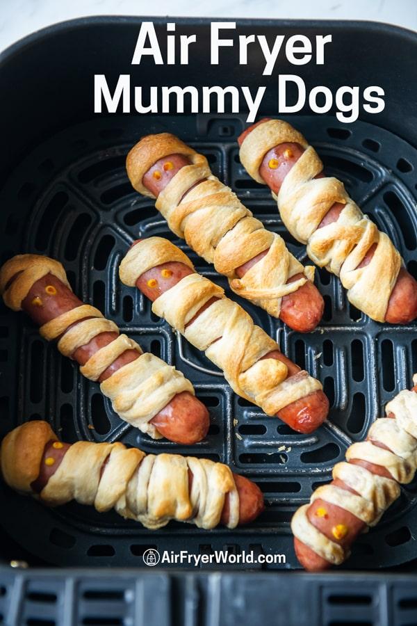 Air Fryer Mummy Hot Dogs Recipe in a basket