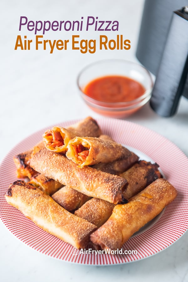 Air Fryer Pepperoni Egg Rolls on a plate