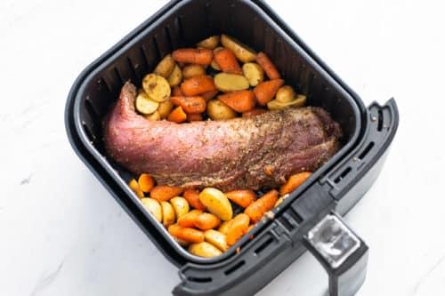 Uncooked pork tenderloin in the air fryer