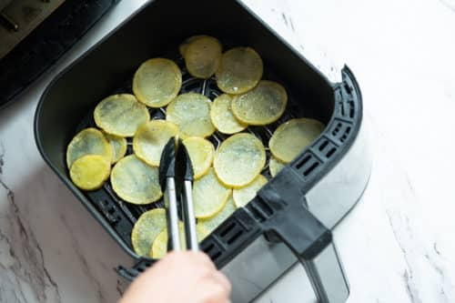 Initial browning potato slices