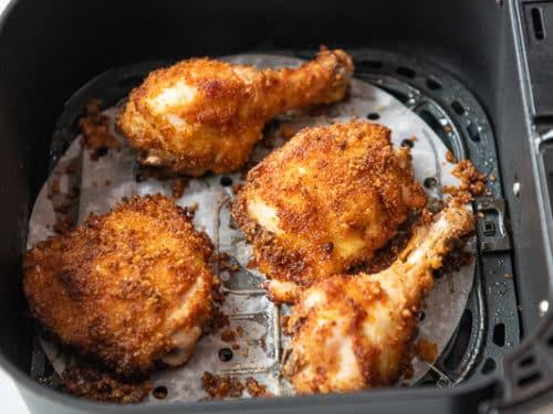 Finished Chicken in an Air Fryer Basket