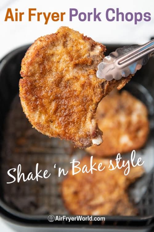 Air Fryer Shake N Bake Pork Chops Recipe held by a tong