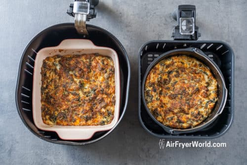 side by side spinach dip in air fryer basket