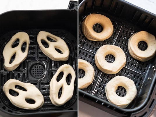 Uncooked donuts in air fryer basket