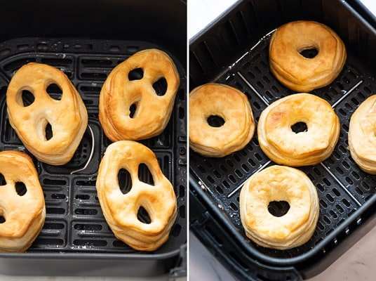 Cooked donuts in air fryer basket