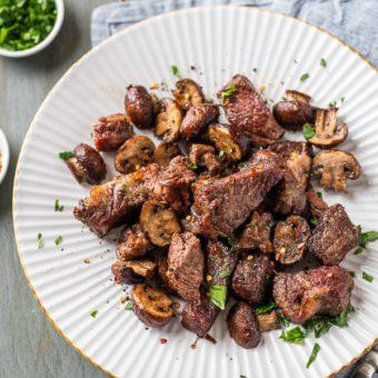 Air Fryer Steak Bites w Mushrooms | AirFryerWorld