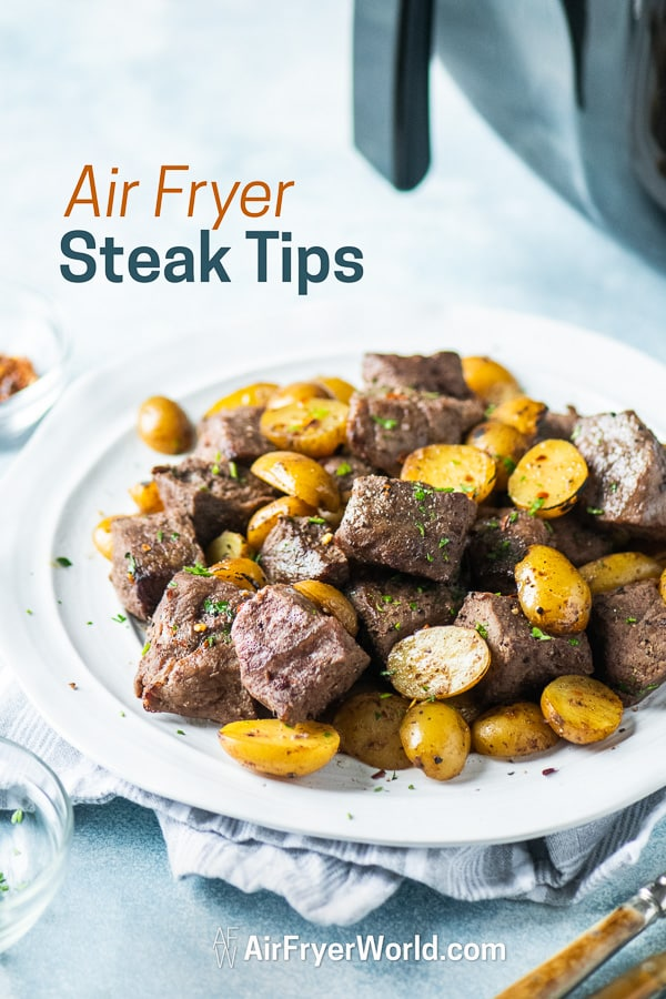 Best Air Fried Steak Tips Recipe in Air Fryer on a plate