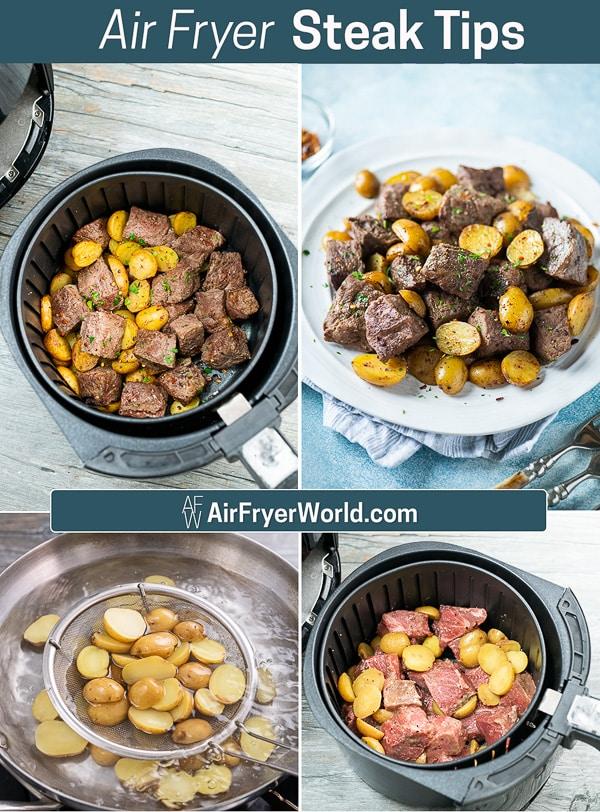 Best Air Fried Steak Tips Recipe in Air Fryer step by step photos