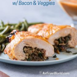 Air Fryer Stuffed Turkey Breast Roll with Bacon, Mushroom, Kale or Spinach | AirFryerWorld.com