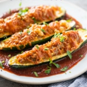 Air Fryer Stuffed Zucchini Boats with Sausage