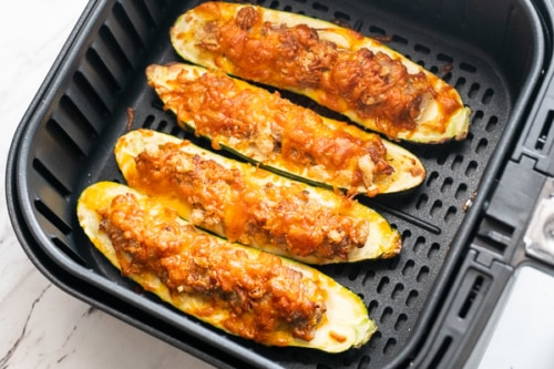 Finished air fried stuffed zucchini boats
