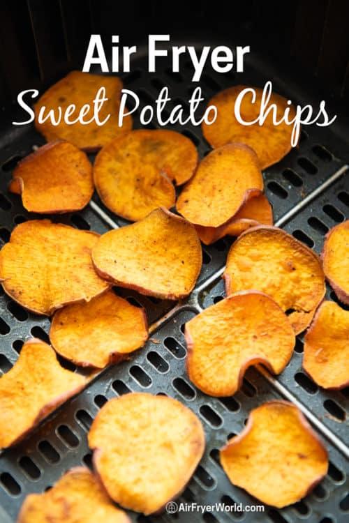 Healthy Sweet Potato Chips Recipe in Air Fryer in a basket
