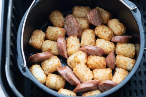 Air fried tater tots and sausage in air fryer