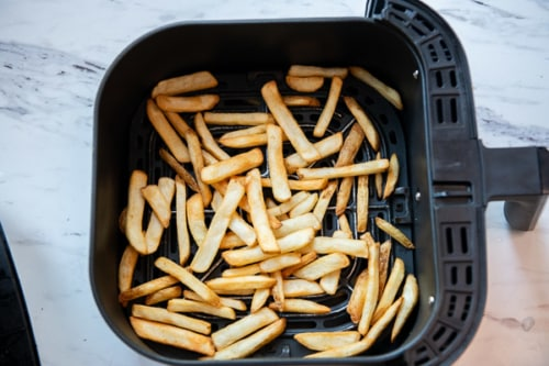 Cooked trader joes handsome cut potato fries in air fryer basket