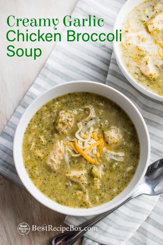 Instant Pot Creamy Garlic Chicken Broccoli Soup in Pressure Cooke or Slow Cooker | @BestRecipeBox