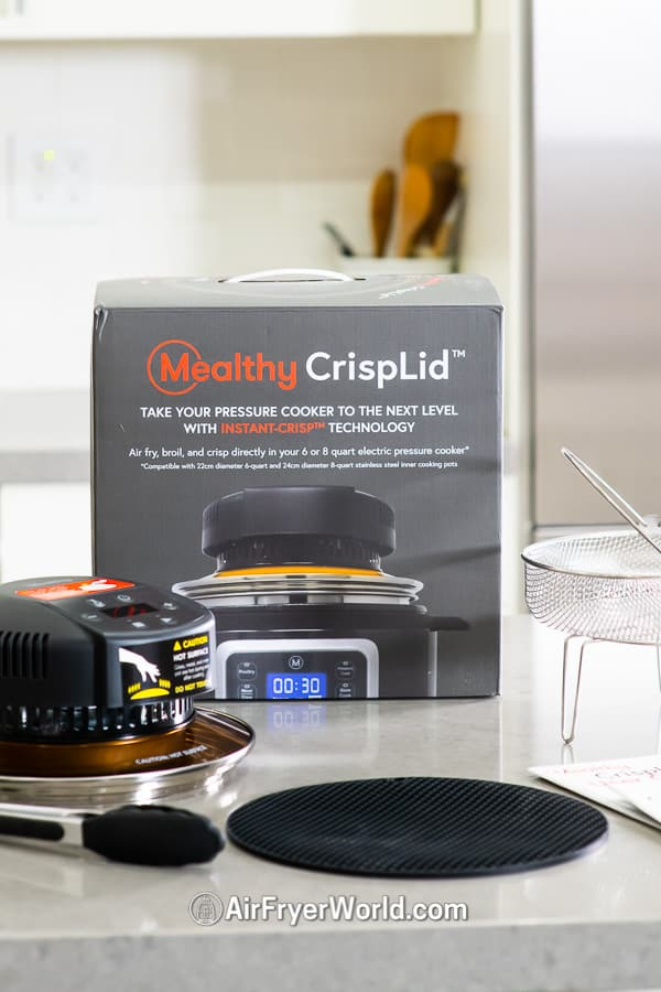 Mealthy Crisp Lid Review Air Fry on Pressure Cooker on countertop