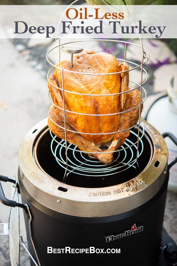 Oil Less Deep Fried Turkey Recipe in Air Fryer in a rack