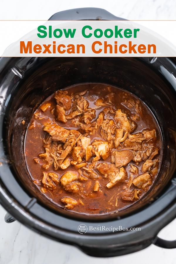 Slow Cooker Mexican Chicken Recipe in the Crock Pot   BestRecipebox.com