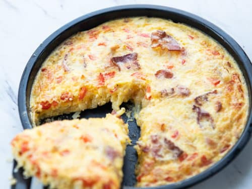 Finished air fried hash brown breakfast casserole