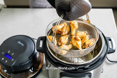 Mealthy Crisp Lid to Air Fry on Pressure Cooker on countertop